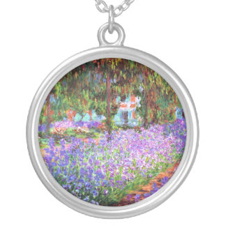 The Artist's Garden at Giverny, Claude Monet Silver Plated Necklace