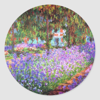 The Artist's Garden at Giverny, Claude Monet Round Stickers