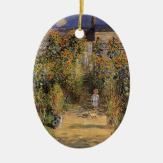 The Artist's Garden at Vetheuil by Claude Monet Ceramic Ornament