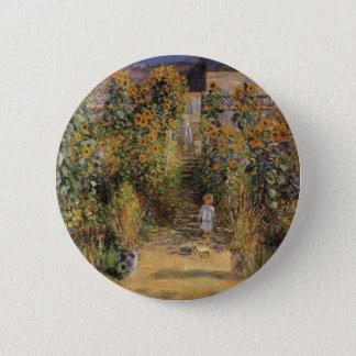 The Artist's Garden at Vetheuil by Claude Monet Pinback Button