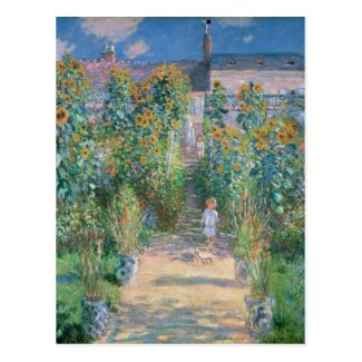 The Artist's Garden at Vétheuil by Claude Monet Postcard