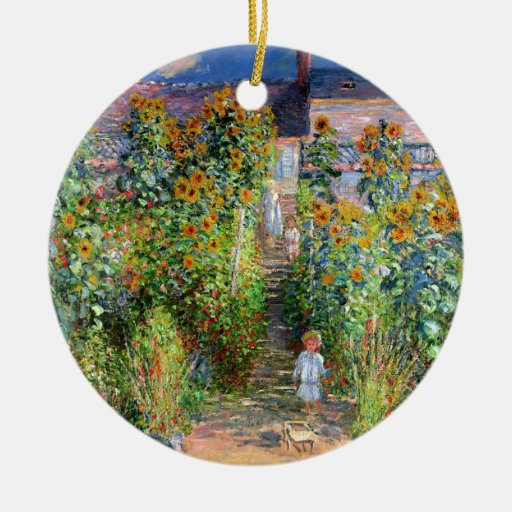 The Artist's Garden at Vetheuil, Claude Monet Double-Sided Ceramic Round Christmas Ornament