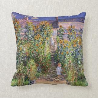 The Artist's Garden by Claude Monet Throw Pillow