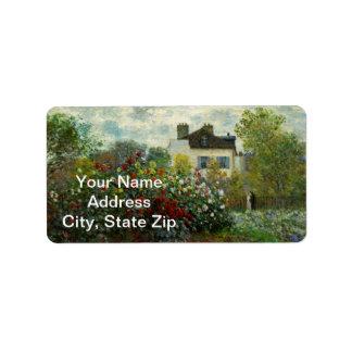 The Artist's Garden in Argenteuil 1873 (Monet) Label