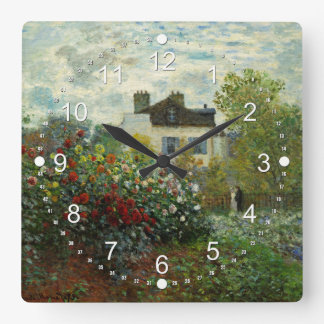 The Artist's Garden in Argenteuil 1873 (Monet) Square Wall Clock