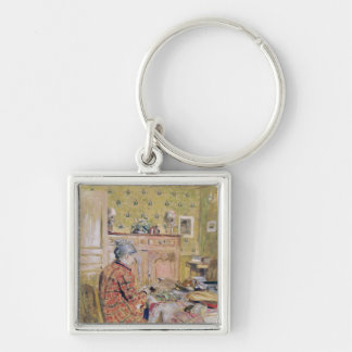 The Artist's Mother Taking Breakfast, 1899-1904 Silver-Colored Square Keychain