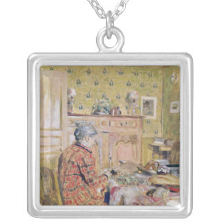 The Artist's Mother Taking Breakfast, 1899-1904 Silver Plated Necklace