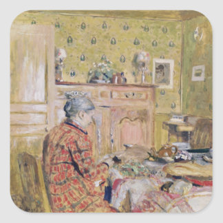 The Artist's Mother Taking Breakfast, 1899-1904 Square Sticker