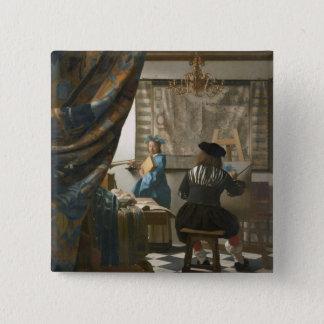 The Artist's Studio, c.1665-66 (oil on canvas) Pinback Button