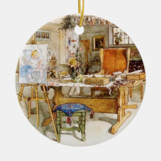 The Artist's Studio Double-Sided Ceramic Round Christmas Ornament
