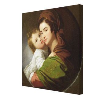 The Artist's Wife, Elizabeth, and their son Raphae Canvas Print