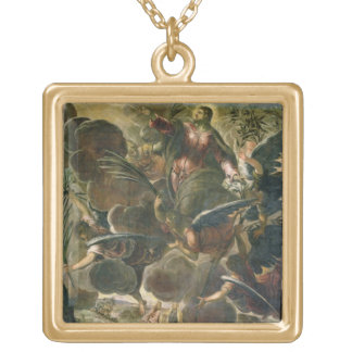 The Ascension of Christ (fresco) Gold Plated Necklace