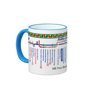 The Ashby Canal Route Map UK Inland Waterways Blue Ringer Mug