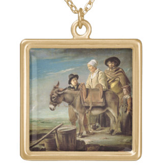 The Ass (oil on canvas) Gold Plated Necklace