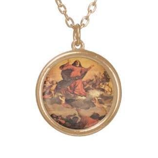 The Assumption of Mary into Heaven Round Pendant Necklace