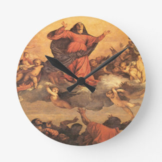 The Assumption of Mary into Heaven Round Clock