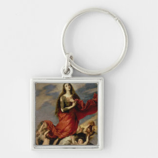 The Assumption of Mary Magdalene, 1636 Silver-Colored Square Keychain