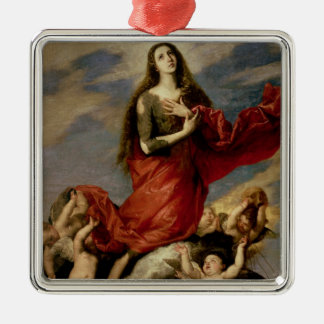 The Assumption of Mary Magdalene, 1636 Square Metal Christmas Ornament