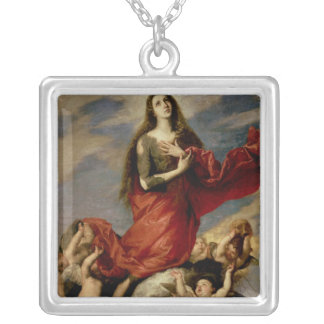 The Assumption of Mary Magdalene, 1636 Square Pendant Necklace
