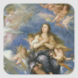 The Assumption of Mary Magdalene (oil on canvas) Square Sticker