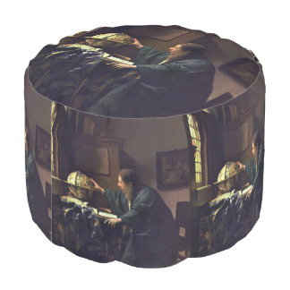 The Astronomer by Johannes Vermeer Round Pouf