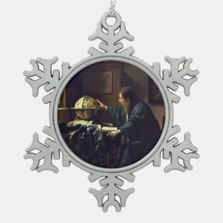 The Astronomer by Johannes Vermeer Snowflake Pewter Christmas Ornament