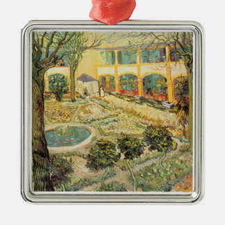 The Asylum Garden at Arles, 1889 (oil on canvas) Square Metal Christmas Ornament