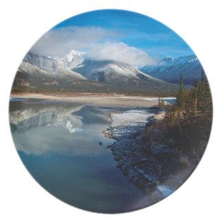 The Athabasca River in Jasper National Park Melamine Plate
