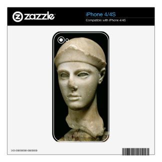 The Athena of Aegina wearing a helmet head of a Skin For iPhone 4