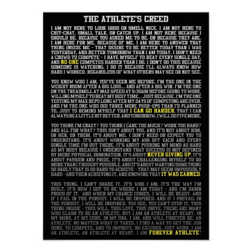 The Athlete's Creed - Motivational Gym Poster
