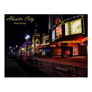 The Atlantic City Boardwalk at Night Postcard