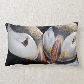 The Atlantic Puffin, a pelagic seabird, shown 3 Throw Pillow