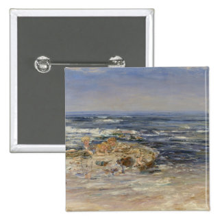 The Atlantic Surf, 1899 (oil on canvas) Pinback Button
