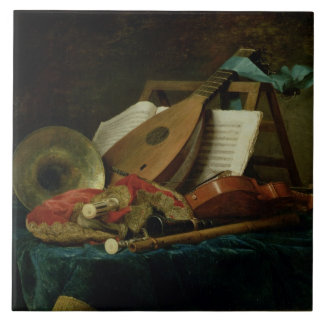 The Attributes of Music, 1770 (oil on canvas) Ceramic Tile