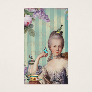 Thé au Petit Trianon on ivory with roses and lilac Business Card