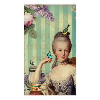 Thé au Petit Trianon on ivory with roses and lilac Double-Sided Standard Business Cards (Pack Of 100)