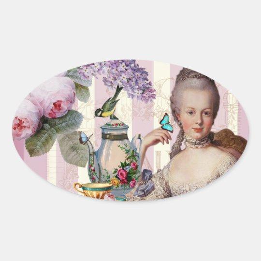 Thé au Petit Trianon – rose Oval Sticker