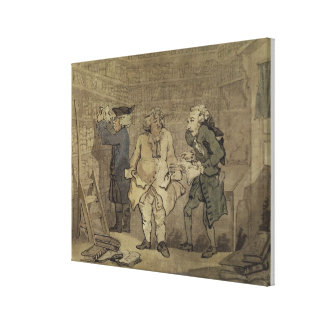 The Author and his Publisher, 1784 (grey wash and Stretched Canvas Print