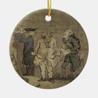 The Author and his Publisher, 1784 (grey wash and Double-Sided Ceramic Round Christmas Ornament