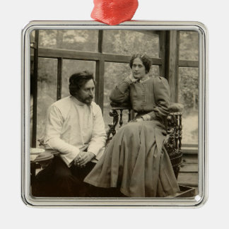 The author Leonid Andreyev with his wife Metal Ornament