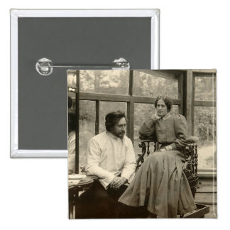 The author Leonid Andreyev with his wife Pinback Button