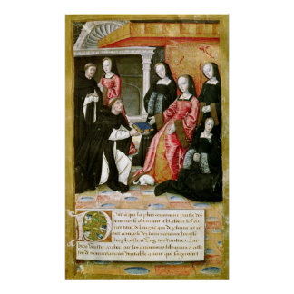 The Author Offering his Book to Anne of Poster