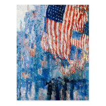 """""""The Avenue in the Rain"""" by Childe Hassam Postcard"""