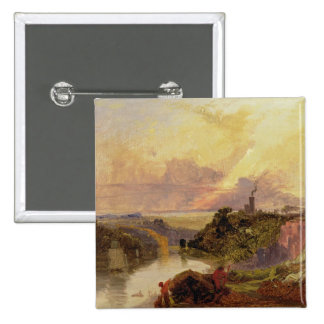 The Avon Gorge at Sunset (oil on paper) Button