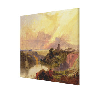 The Avon Gorge at Sunset (oil on paper) Canvas Print
