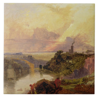 The Avon Gorge at Sunset (oil on paper) Large Square Tile