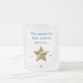 The Award For Best Actress: Jennifer Frosted Glass Coffee Mug