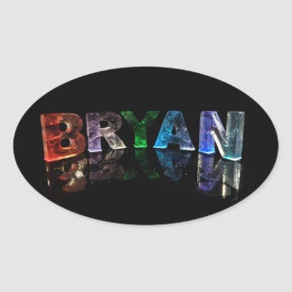 The  Awesome Name Bryan in 3D Lights Oval Sticker