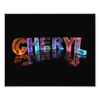 The  Awesome Name Cheryl in 3D Lights Photo Print