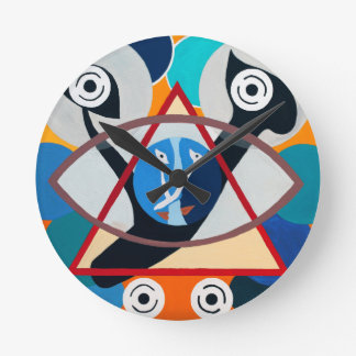 The Ayn Letter - Hebrew aphabet Round Wall Clock